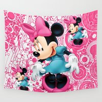 minnie Wall Tapestries featuring Minnie Mouse Cartoon by Maxvision