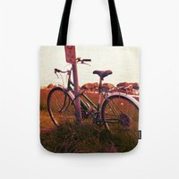 cycling Tote Bags featuring no cycling  by LeoTheGreat