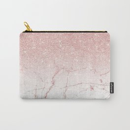 Rose Glitter Pink Marble Carry-All Pouch