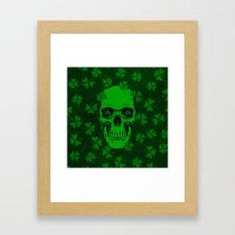 Retro Clover Shamrock Skull Framed Art Print