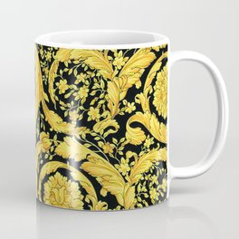 Black Gold Leaf Swirl Coffee Mug