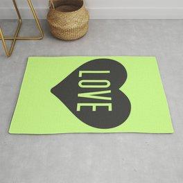 Green neon love heart Rug