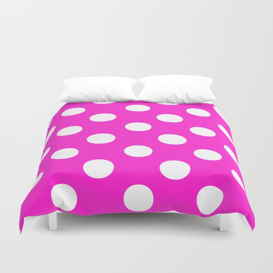 Polka Dots (White/Hot Magenta) Duvet Cover