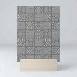 KINDRED Gray Tone Patchwork Quilt Design Mini Art Print