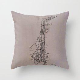 Tenor saxophone patent Throw Pillow