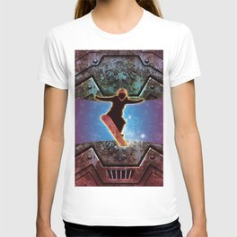 Snowboarder on steampunk background T-shirt