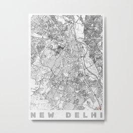 New Delhi Map Line Metal Print