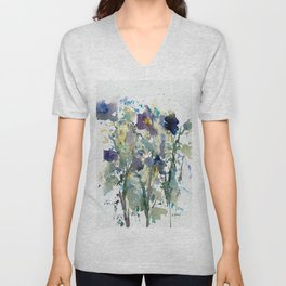 Iris Garden watercolor painting Unisex V-Neck