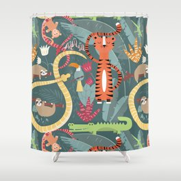 Rain forest animals 003 Shower Curtain