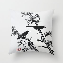 Song Birds at Dusk Throw Pillow