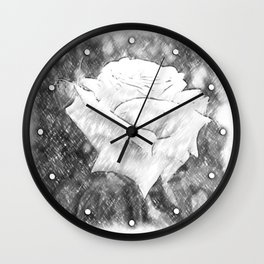 Pink Roses in Anzures 6 Charcoal Wall Clock