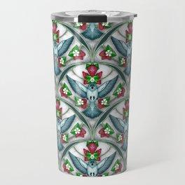 Bluebird Art Deco Pattern  Travel Mug