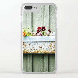 Pansies and Rust Clear iPhone Case