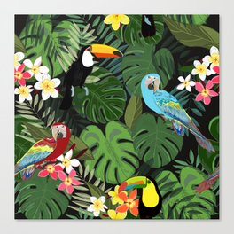 Tropical forest and birds pattern black background Canvas Print