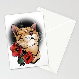 cat tattoo style Stationery Cards