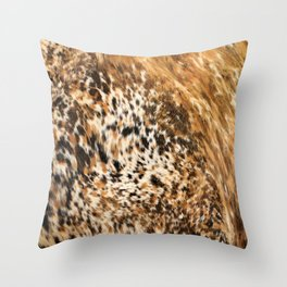 Rustic Country Western Texas Longhorn Cowhide Rodeo Animal Print Throw Pillow