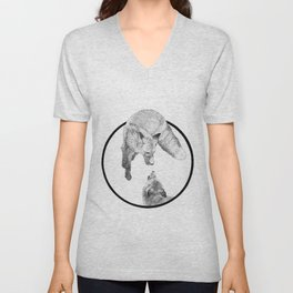 The Fox Playing - Animal Drawing Series Unisex V-Neck