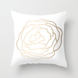 Flower in White Gold Sands Throw Pillow