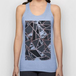 Modern Rose Gold Glitter Marble Geometric Triangle Unisex Tank Top