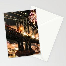 manhattan bridge with fireworks Stationery Cards