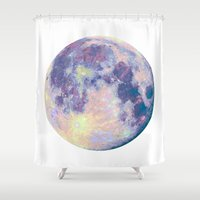 the moon Shower Curtains featuring Moon by Marta Olga Klara