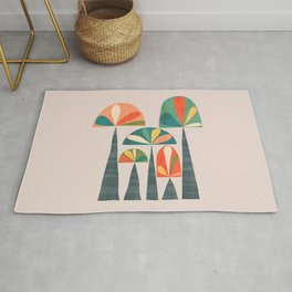 Quirky retro palm trees Rug