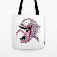 venom Tote Bags featuring Venom by Daniel Pearson