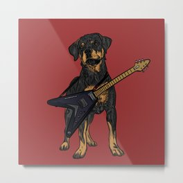 Rottweiler Dog Puppy with a Flying V Electric Guitar Ready to Rock. Metal Print