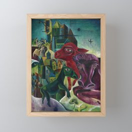 City with Animals by Max Ernst Framed Mini Art Print