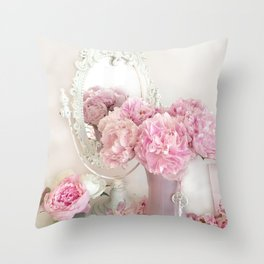 Shabby Chic Pink Peonies White Mirror Romantic Cottage Prints Home Decor Throw Pillow