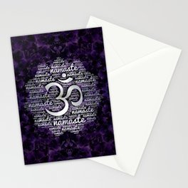 Pearl Namaste Word Art in Lotus with OM symbol on amethyst Stationery Cards