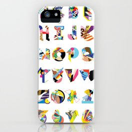 AMP Noise collage alphabet (white poster) iPhone Case