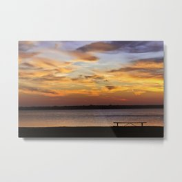 Sitting on the Bench by the Lake Metal Print