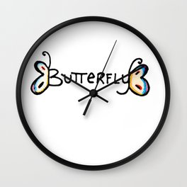 Butterfly Typography Wall Clock