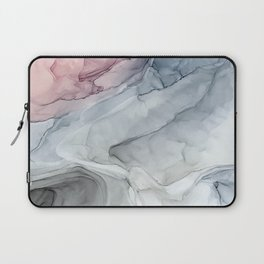 Pastel Blush, Grey and Blue Ink Clouds Painting Laptop Sleeve