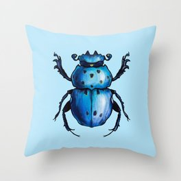 Blue Beetle Cool Insect Art Throw Pillow