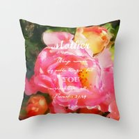 verse Throw Pillows featuring Roses - Verse by Anita Faye