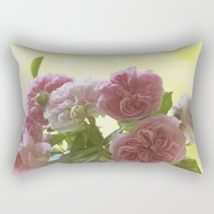 Pink English Roses in a vase- Vintage Rose Stilllife photography Rectangular Pillow