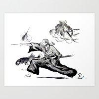 samurai champloo Art Prints featuring Jin - Samurai Champloo Sumi-e by Knapp Ink