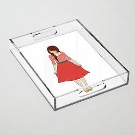 red dress Acrylic Tray