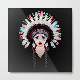 Native american woman wearing war bonnet, tribal portrait design Metal Print