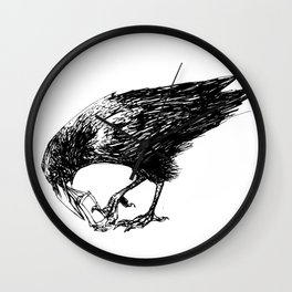 CROW EATING A CANDY BAR Wall Clock