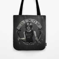 daryl dixon Tote Bags featuring Daryl Dixon by Blanca Limón