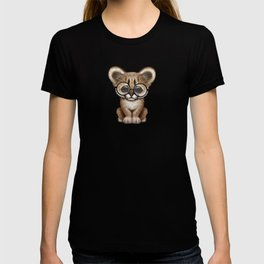 Cute Cougar Cub Wearing Reading Glasses on Red T-shirt