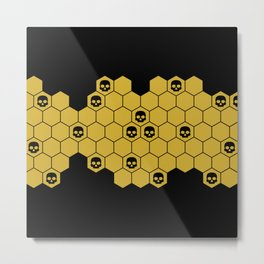 Honey Skulls - Black Metal Print