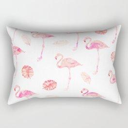 Trendy modern tropical pink watercolor flamingo tropical leaf pattern Rectangular Pillow