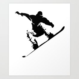 Snowboarding Black on White Abstract Snow Boarder Art Print