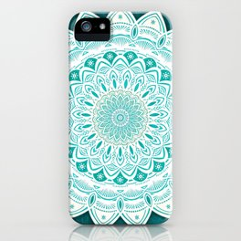 White Mandala on Blue Green Distressed Background with Detail and Textured iPhone Case