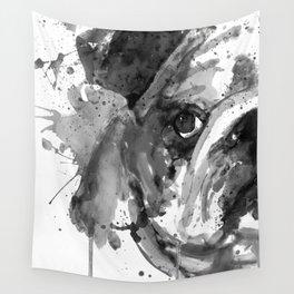 Black And White Half Faced English Bulldog Wall Tapestry