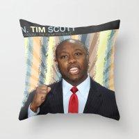 tim shumate Throw Pillows featuring Tim Scott by politics